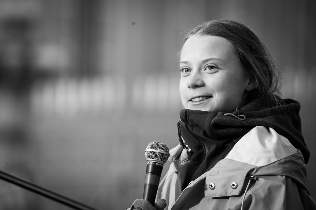 Greta Thunberg, a climate activist from Sweden, participate to F