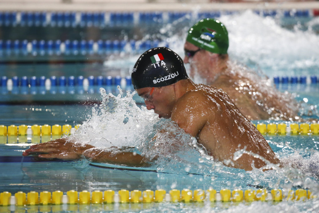 Fabio Scozzoli in action at the swimming competition during the
