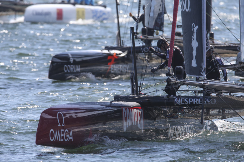 Emirates Team NZ at the prestart of the first fleet race of the