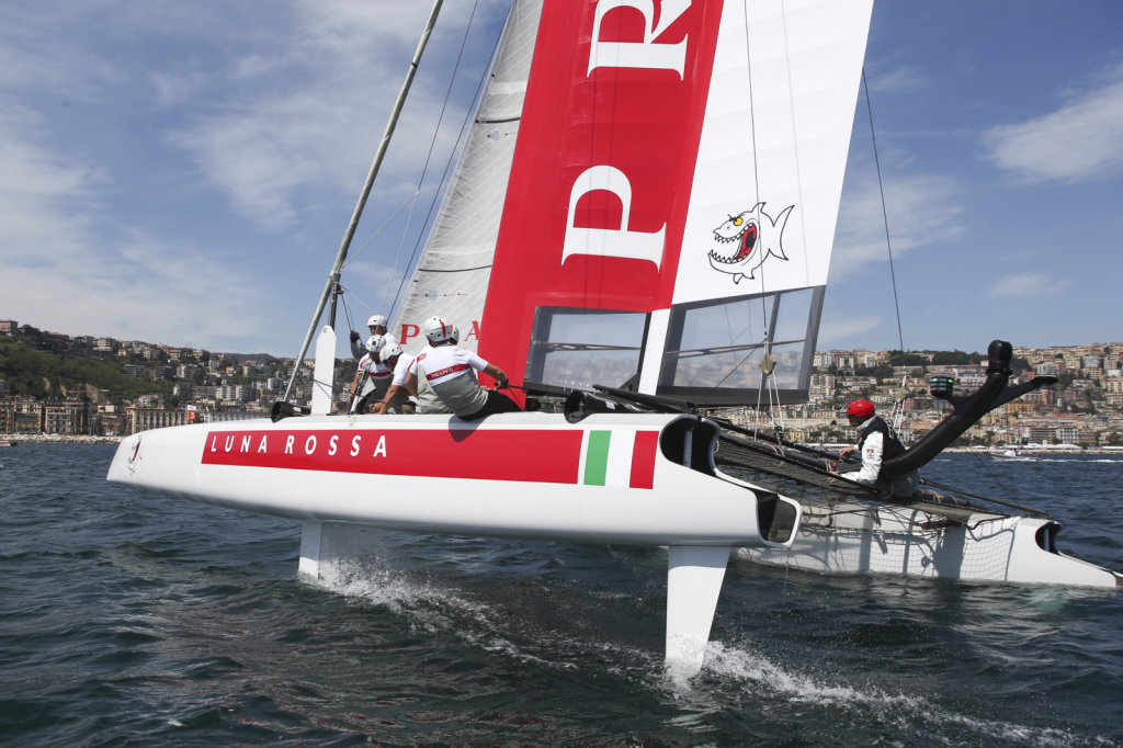 Luna Rossa Piranha in action at the windward mark during the AC